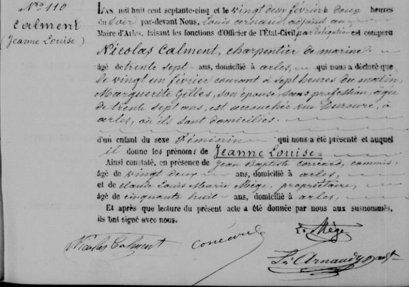 Свидетельство о рождении Жанны Кальман