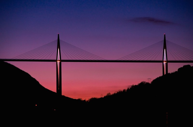 На фоне заката.